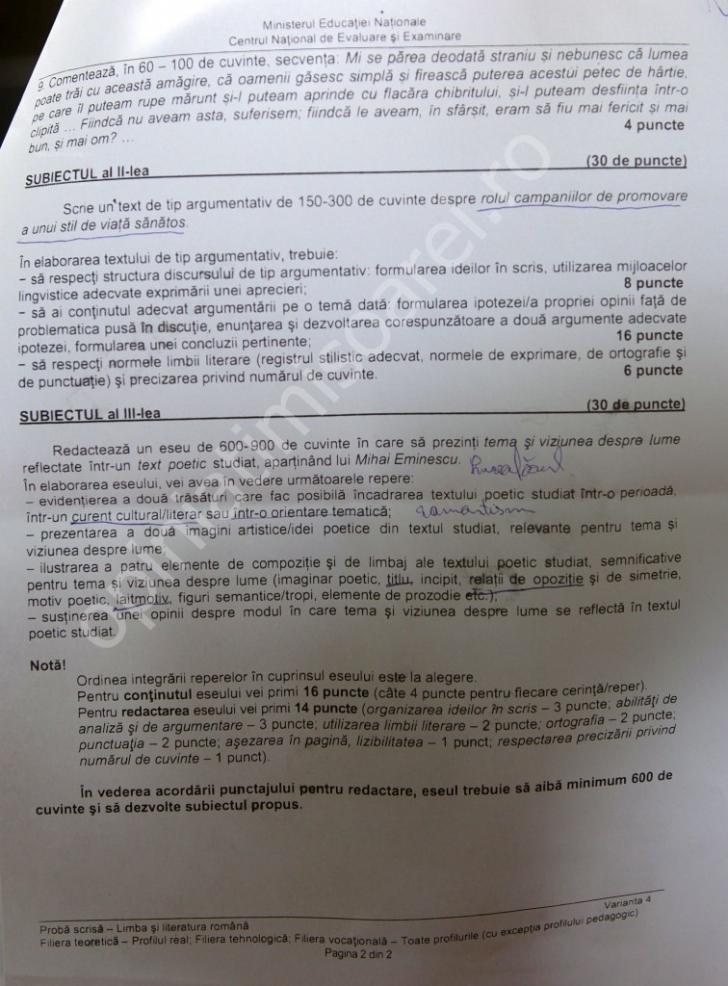 BACALAUREAT 2014 SUBIECTE ROMÂNĂ SCRIS