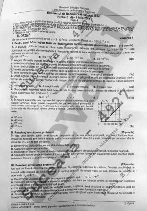 BACALAUREAT 2014. SUBIECTE FIZICĂ şi BAREM EDU.RO