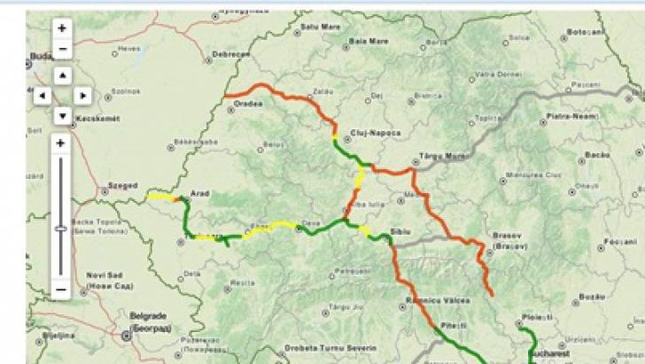Harta autostrăzilor din România.