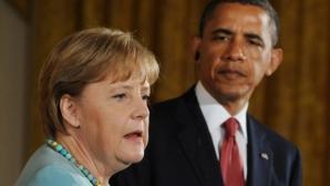 """Obama şi Merkel apreciază că Rusia s-a angajat într-o """"escaladare periculoasă"""" în Ucraina"""