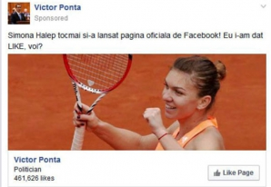 Ponta profita de succesul Simonei Halep pentru a aduna like-uri pe Facebook - publicatie britanica