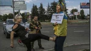 Femeie torturată la Donetk
