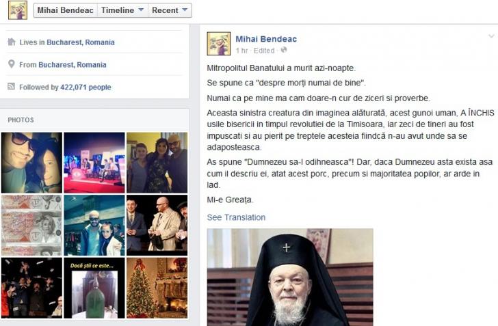 BENDEAC, postare ŞOCANTĂ despre Mitropolitul Banatului