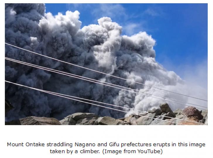 Erupție la Muntele Ontake din Japonia: un mort și zeci de răniți