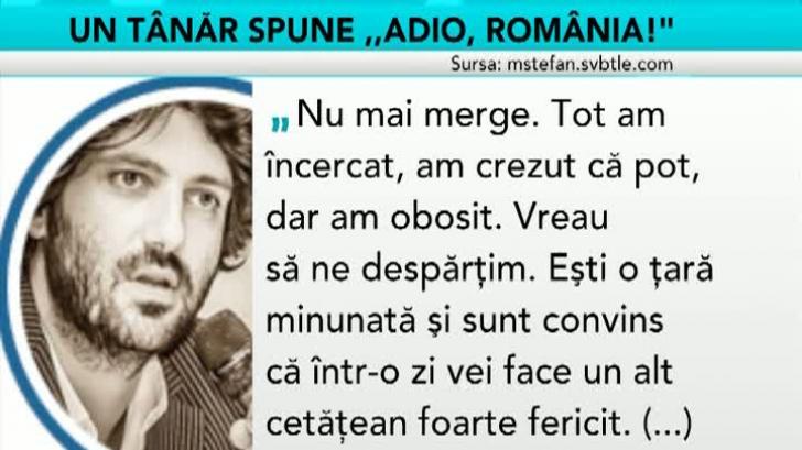 """Ştefan Moşanu spune """"Adio, România!"""""""