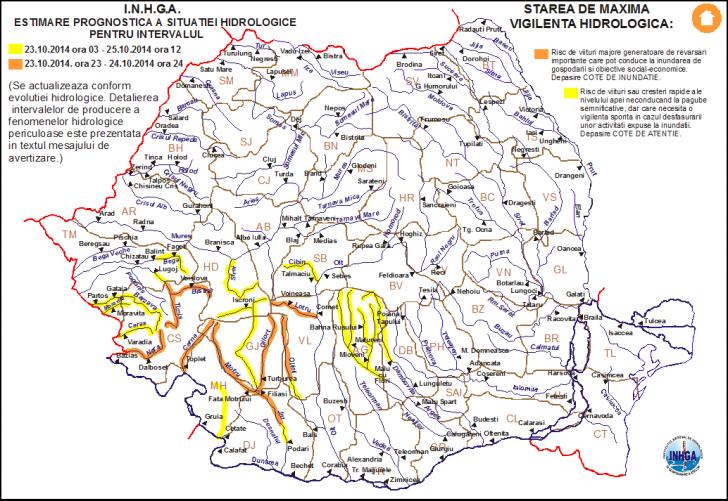 Cod Portocaliu pe râuri din judeţele Timiş, Caraş-Severin, Hunedoara, Gorj, Mehedinţi, Dolj şi Vâlcea