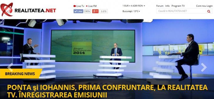 Care dintre cei doi candidaţi la alegerile prezidenţiale a câştigat dezbaterea de la Realitatea TV?