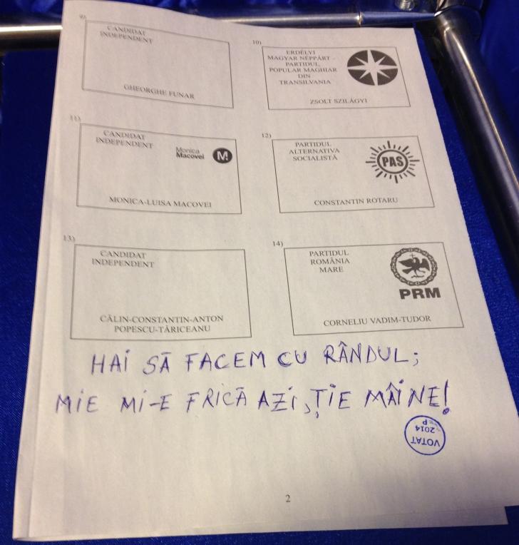 ALEGERI 2014. INCREDIBIL - Ce a scris un alegător pe buletinul de vot