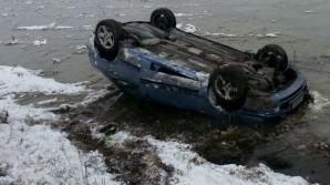 ACCIDENT SPECTACULOS la Cluj: o maşină s-a răsturnat