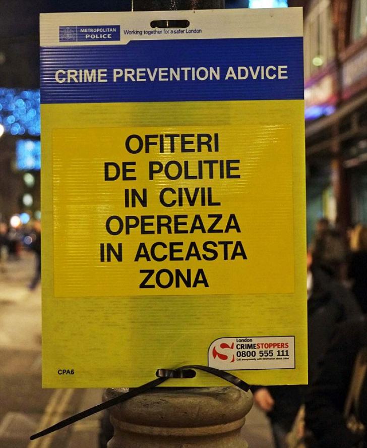 Semnul amplasat special pentru români, în centrul Londrei