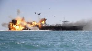 Iranul a efectuat exercitii militare navale in Stramtoarea Hormuz, simuland un atac impotriva unui portavion american