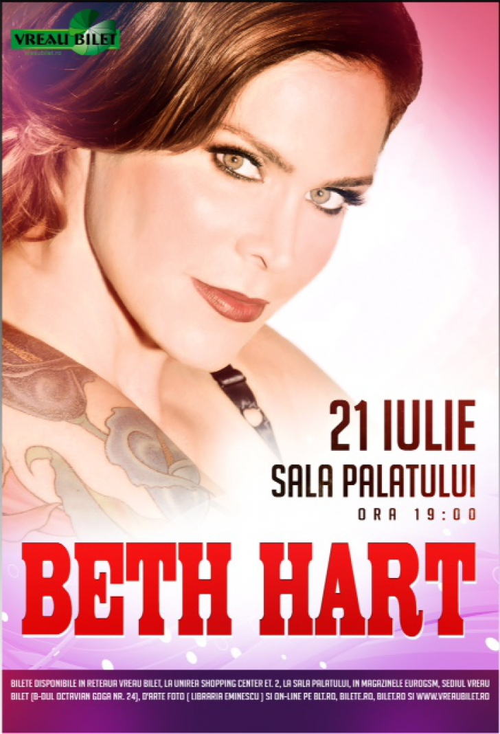 Premiera! Beth Hart vine la Sala Palatului