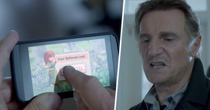 """""""Nervosul"""" Liam Neeson pierde la Clash of Clans, dar realizeaza o reclamă de exceptie"""