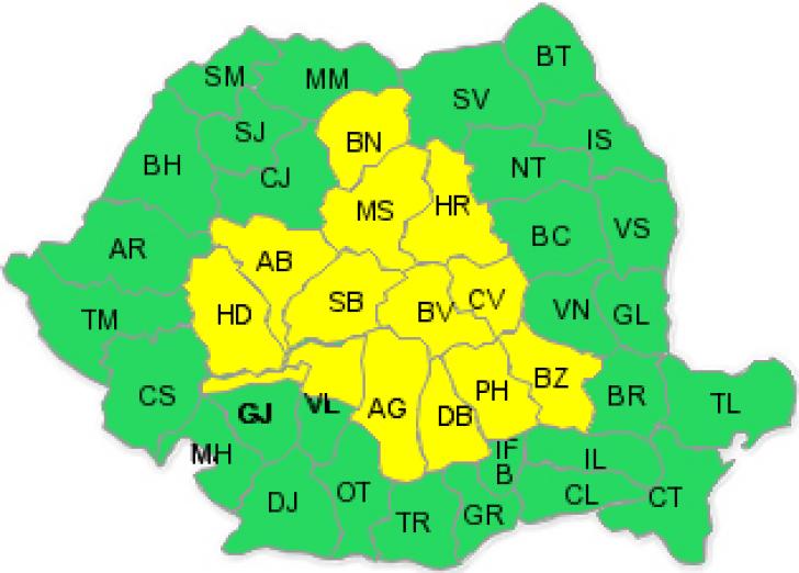 Cod galben de vreme rea: ploi însemnate cantitativ în 14 județe