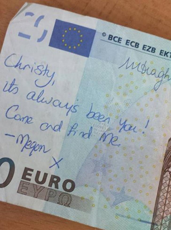 Un mesaj scris pe o bancnotă a devenit viral. Deznodământul este emoţionant