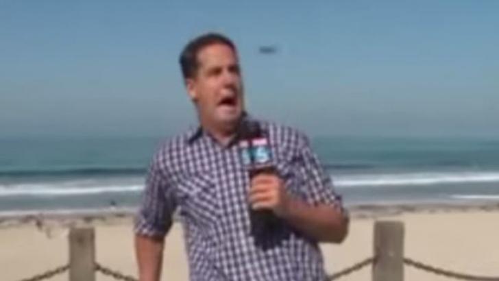 Un reporter s-a speriat de un gândac în timpul unei transmisiuni în direct. Reacția sa e amuzantă