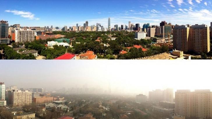 Cum arată cerul din Beijing după două săptămâni de interdicţii impuse maşinilor FOTO