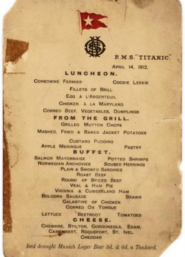 Ce mâncare a fost servită la ultimul prânz de pe Titanic. Meniul a fost scos la licitaţie