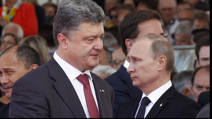 Petro Petroșenko și Vladimir Putin