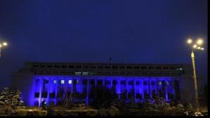 Palatul Victoria, luminat de Ziua Națiunilor Unite