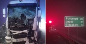 Dezastru pe autostrada Timişoara-Arad. Accident în lanţ: impact violent între 3 TIR-uri şi un camion / Foto: opiniatimisoarei.ro