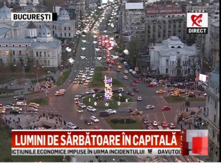 Lumini de sărbătoare în Capitală. Trei milioane de beculeţe decorează de luni Bucureştiul