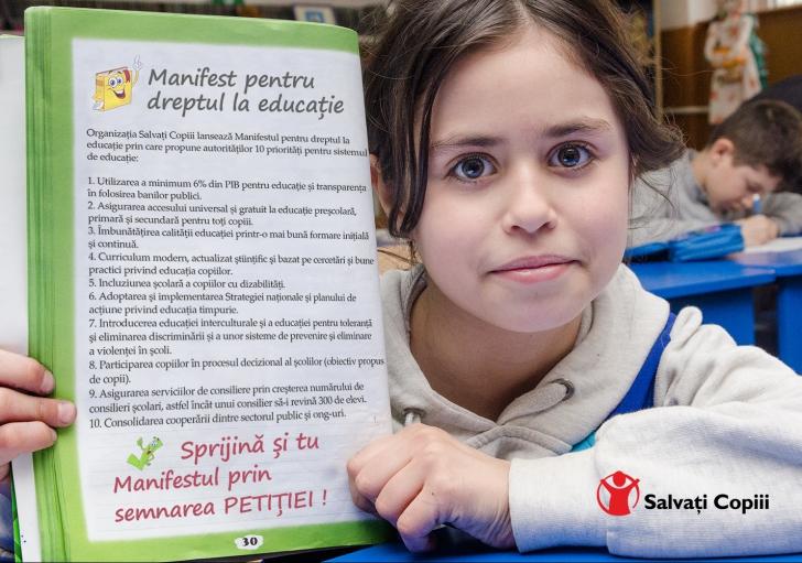 Manifest pentru DREPTUL LA EDUCAȚIE. Asigurarea educaţiei de calitate pentru toţi copiii