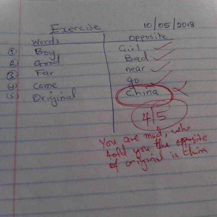 """Răspunsul unui elev la un test banal. Învăţătoarea a rămas mască: """"Nu eşti în toate minţile!"""""""