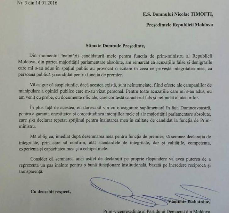 Scrisoarea lui Plahotniuc către președintele Timofti