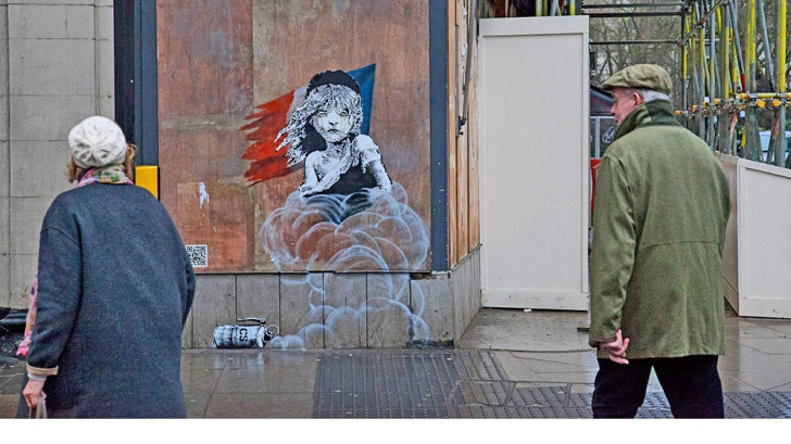 Lucrarea prin care Banksy critică gestionarea crizei imigranţilor în Franţa