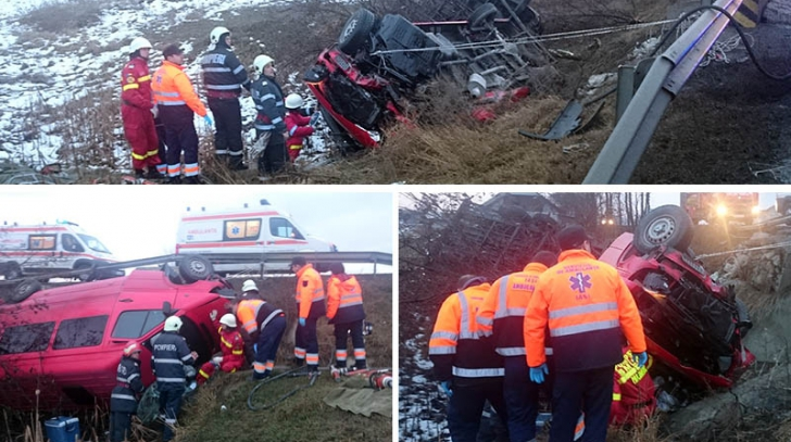 Accident grav. Un microbuz s-a răsturnat pe DN28 A. Mai multe persoane, rănite