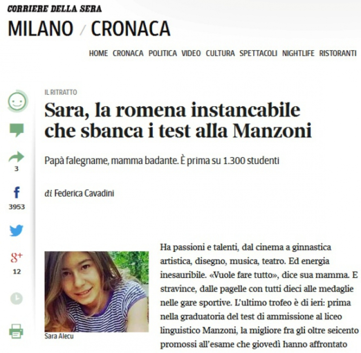 O adolescentă româncă, lăudată în presa din Italia. I-a uimit pe toţi