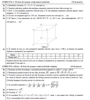 Subiecte simulare Matematica