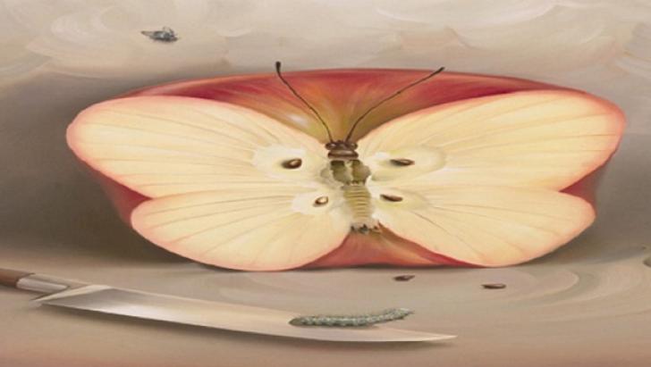 Ce ai văzut mai întâi în această fotografie? Un măr, un cuţit sau un fluture? Ce spune despre tine