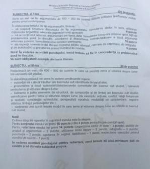 Subiecte simulare Limba Romana