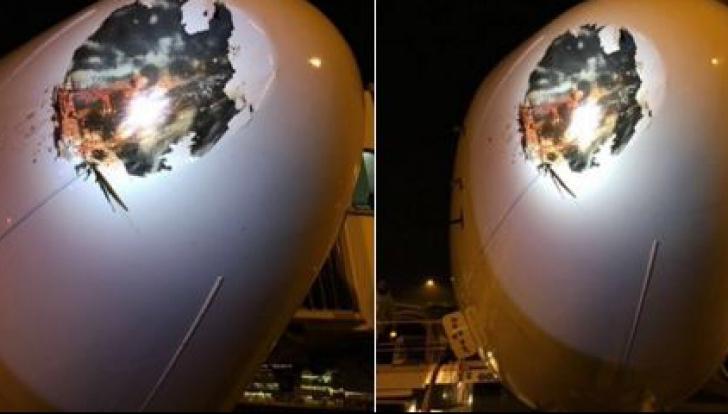 Accident îngrozitor de avion. Cum arată acesta după ce a fost lovit de o pasăre
