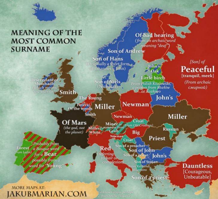 Harta numelor Europa