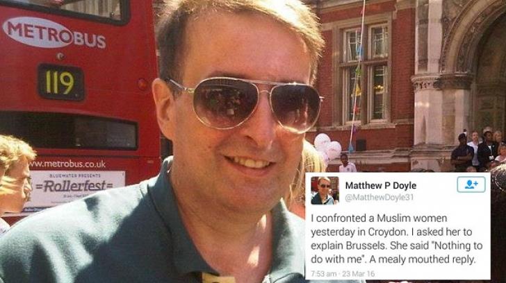 Bărbat arestat, după ce a povestit pe Twitter că i-a pus o întrebare, pe stradă,unei femei musulmane
