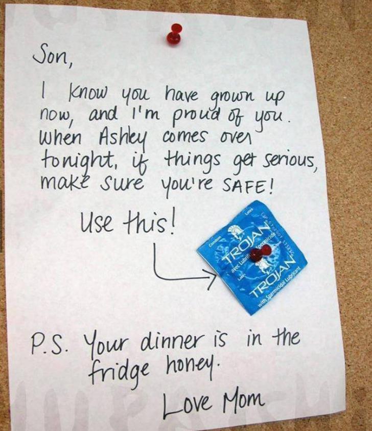 """I-a lăsat fiului ei un bilet şi un prezervativ. I-a scăpat însă un """"detaliu"""" care a făcut-o de râs"""