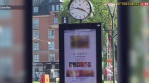 Au afişat filme pentru adulţi pe panoul publicitar electronic dintr-o staţie de autobuz. FOTO