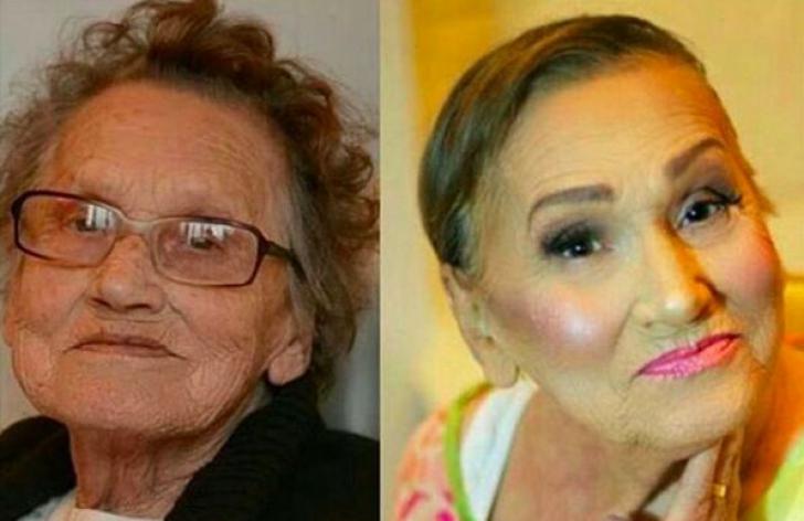 Cum se transformă această bătrână după ce este machiată. Nu-i mai dai 80 de ani