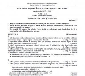 Barem Evaluare Nationala 2016 Romana. Baremul de corectare la Română, publicat pe EDU. RO