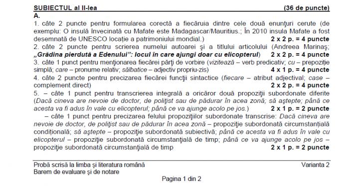 EDU. RO. BAREM ROMANA. Evaluare Naţionala 2016. Baremul de corectare la Limba Română
