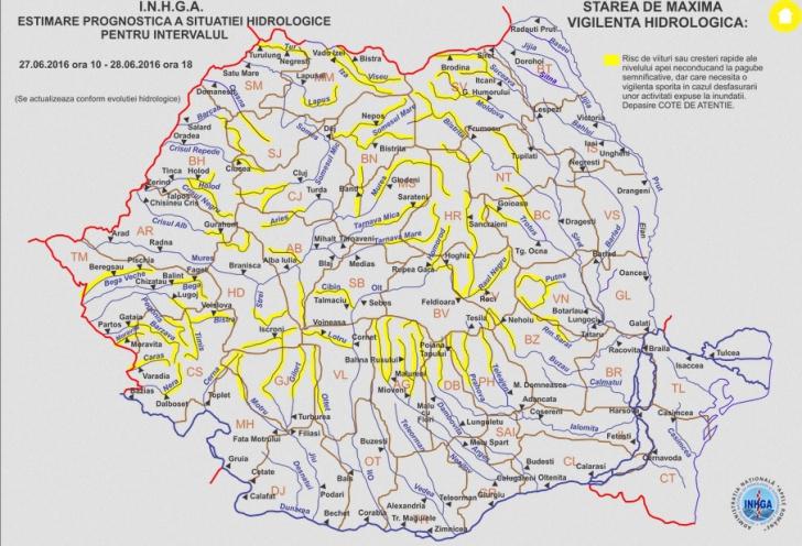 Cod PORTOCALIU de INUNDAŢII în mai multe judeţe din ţară. Harta zonelor afectate
