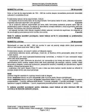 SUBIECTE ROMÂNĂ BACALAUREAT 2016