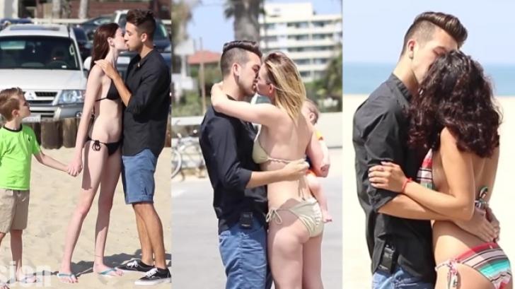 A sărutat toate femeile cu copii mici pe care le-a întâlnit pe plajă! Ce le-a spus e incredibil
