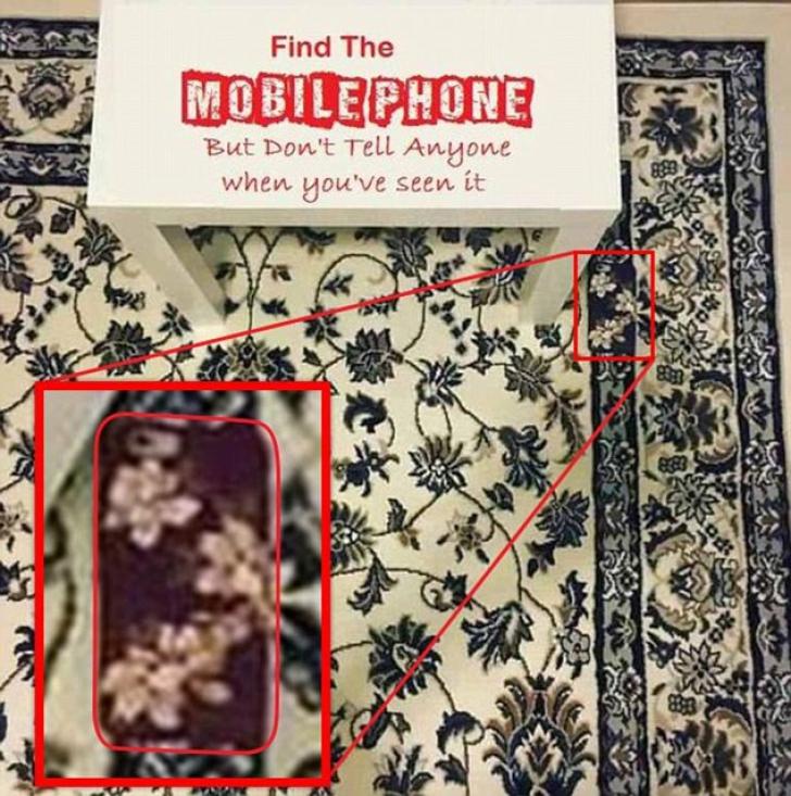 Testul telefonului a înnebunit internetul. Găsește smartphone-ul așezat pe covor!