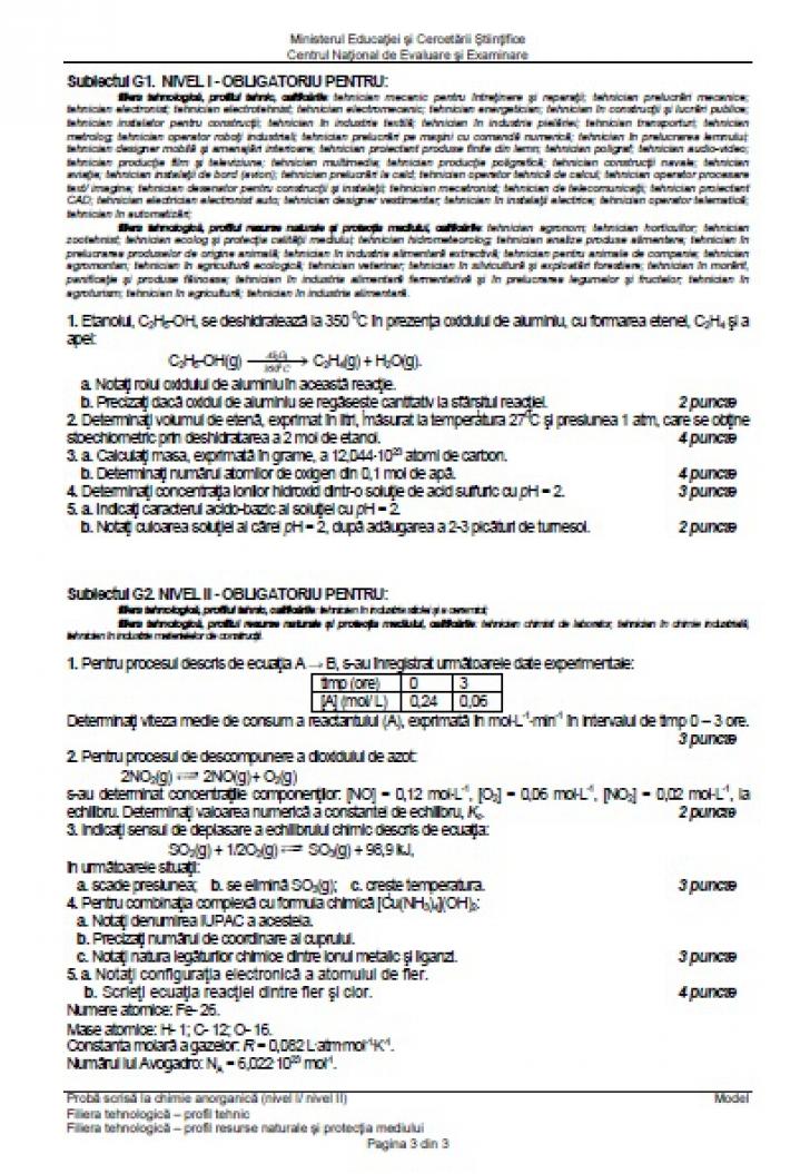 BAC 2016 Subiecte şi barem CHIMIE organica şi anorganica