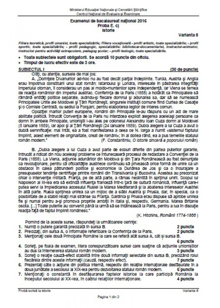 Subiecte şi barem ISTORIE edu.ro