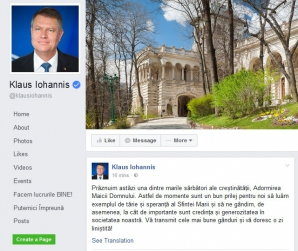 Sfânta Maria. Klaus Iohannis, mesaj emoţionant pe Facebook